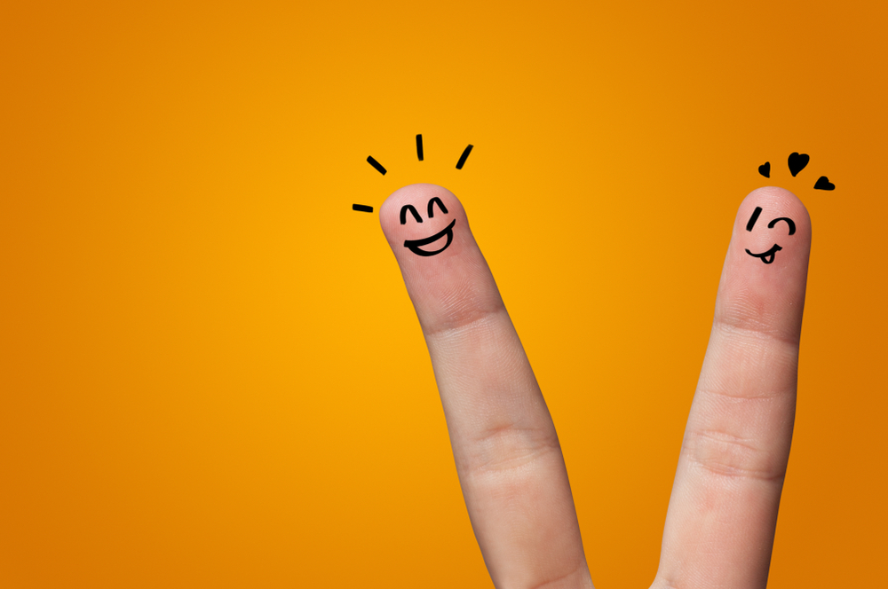 Waggish happy fingers with team building concept